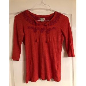 Lucky Brand Red Long-Sleeved Top Size S